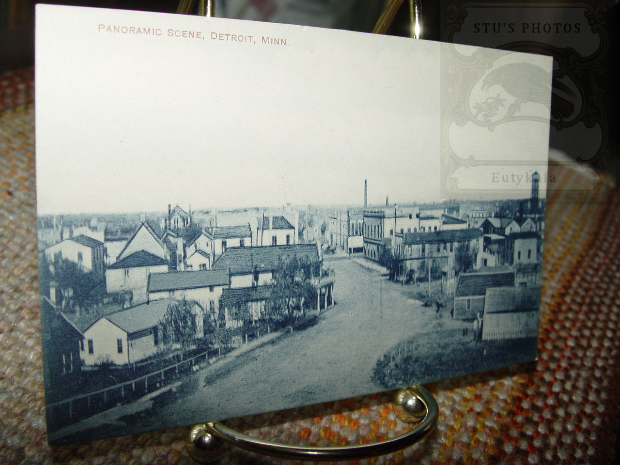 Early RPPC of Areal view                                         Town Scene ~ Detroit (Detroit                                         Lakes) Minnesota 1916