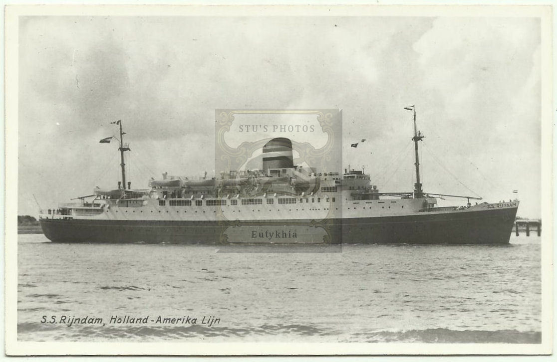 SS Rijndam (also spelled                                         Ryndam) Holland America Line                                         RPPC freighter / cruise ship