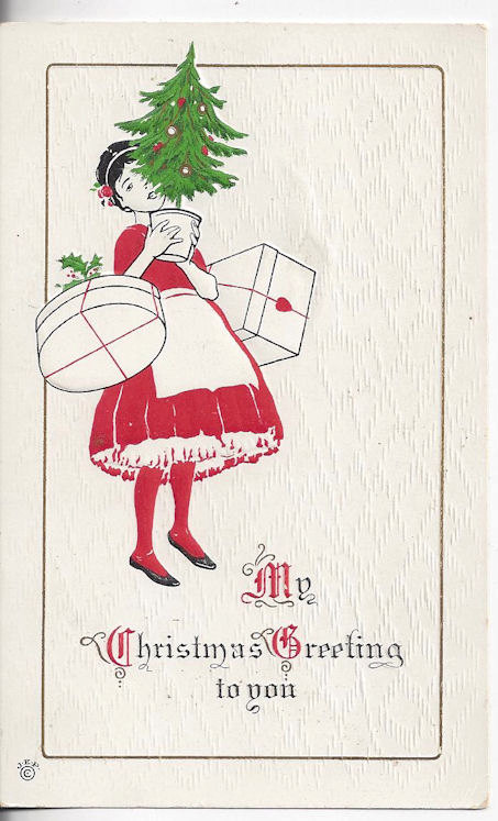 Girl in Red and                                         White with Gifts and Tree~                                         Antique JEP Signed Christmas                                         1915 Postcard