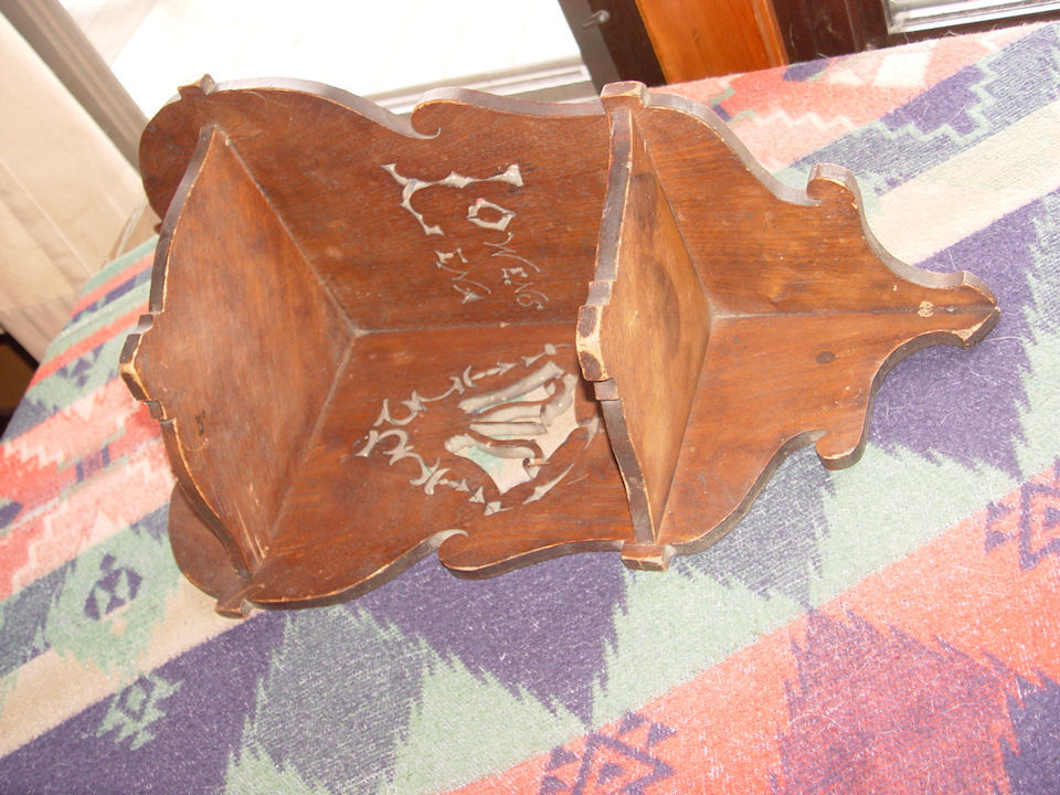 Scandinavian Walnut corner                                         shelf ~ Carved Lena Owens 1890s