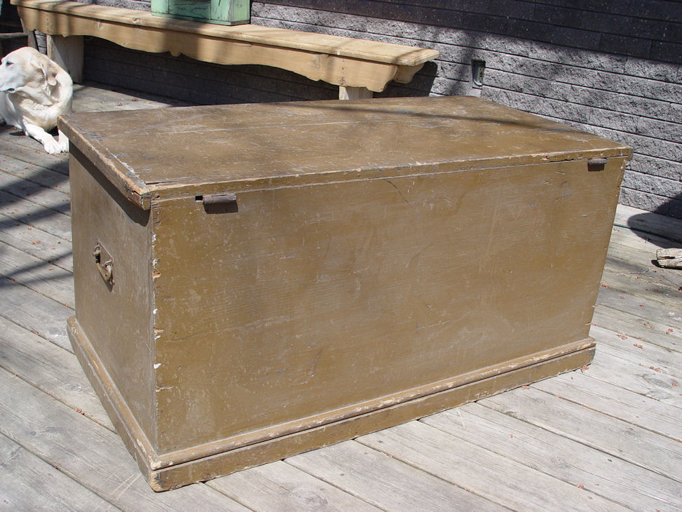 1880's Antique canted side                                         trunk, original dry olive green                                         paint