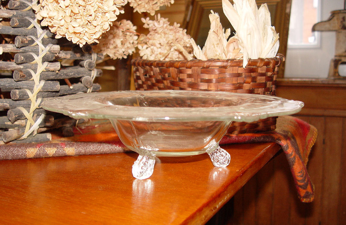 1920's                                         Beautiful Fostoria? Three footed                                         serving bowl candy dish pretty                                         etched pattern ~ Holidays!