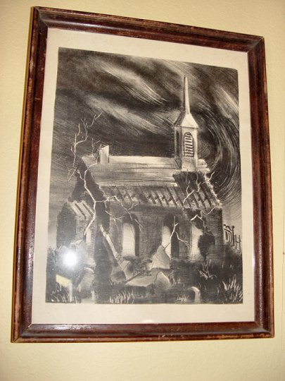 Abandoned Church and                                         Haunted Cemetery Pen and Ink                                         Sketch by Gordon E. Gunther
