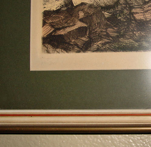 Mission Styled framed                                         Drypoint? Cypress Tree & Sea                                         etching called 'Water' German                                         artist