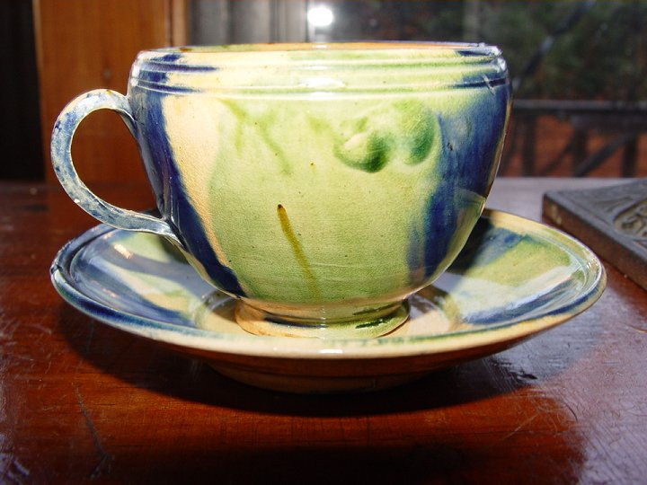 Vintage Oaxacan drip glaze                                         Mexican pottery blues and greens                                         cup & saucer
