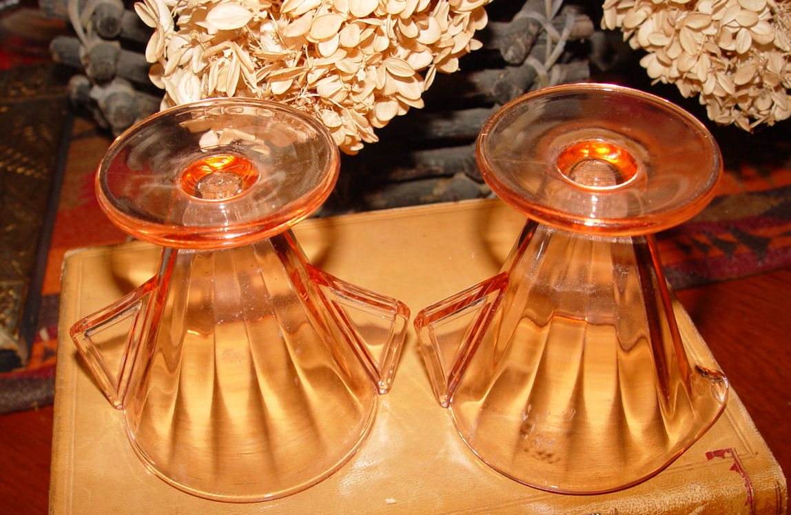 Pink Depression Glass                                         Fluted Cream & Sugar Art                                         Deco Style