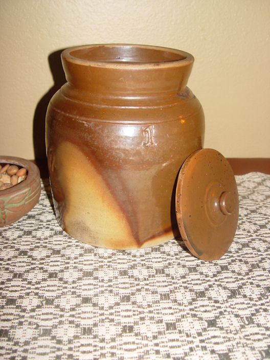 Rare glazed one gallon                                         lidded stoneware storage jar