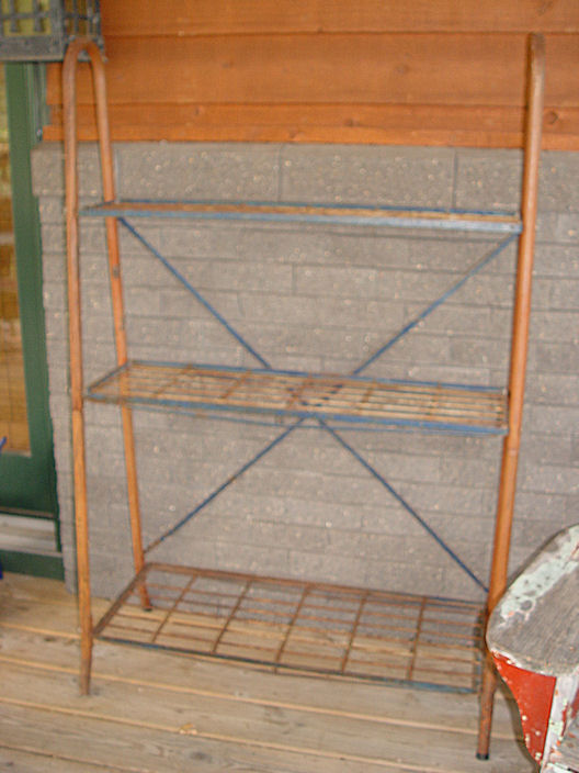 LARGE ANTIQUE RED / BLUE                                         GAS & OIL RACK - GARDEN OR                                         GENERAL STORE USE