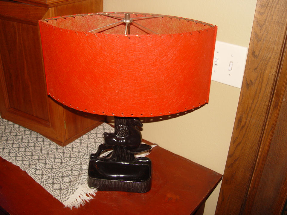 Vintage TV lamp, black deer                                         light planter w/ Red Space Age                                         Mid Century Style Fiberglass                                         Lamp Shade ~ Unique and Rare                                         shape