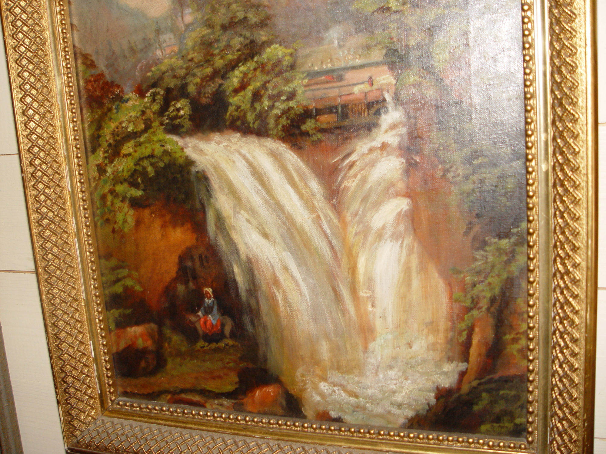 Indiana waterfall landscape                                         oil on canvas Ca: 1880's
