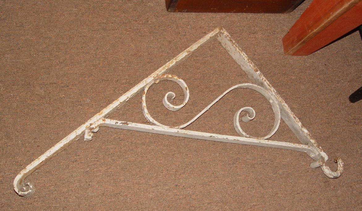 Original 19th century                                         ornamental Advertising Sign cast                                         iron exterior storefront trade                                         sign bracket ~ White chippy                                         paint