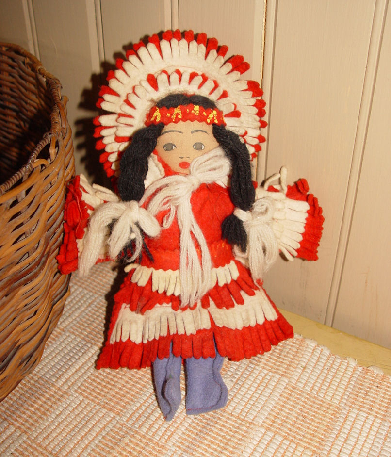 Vintage Cloth Child's Doll                                         Native American Handmade w/ Felt                                         Dress 1940's