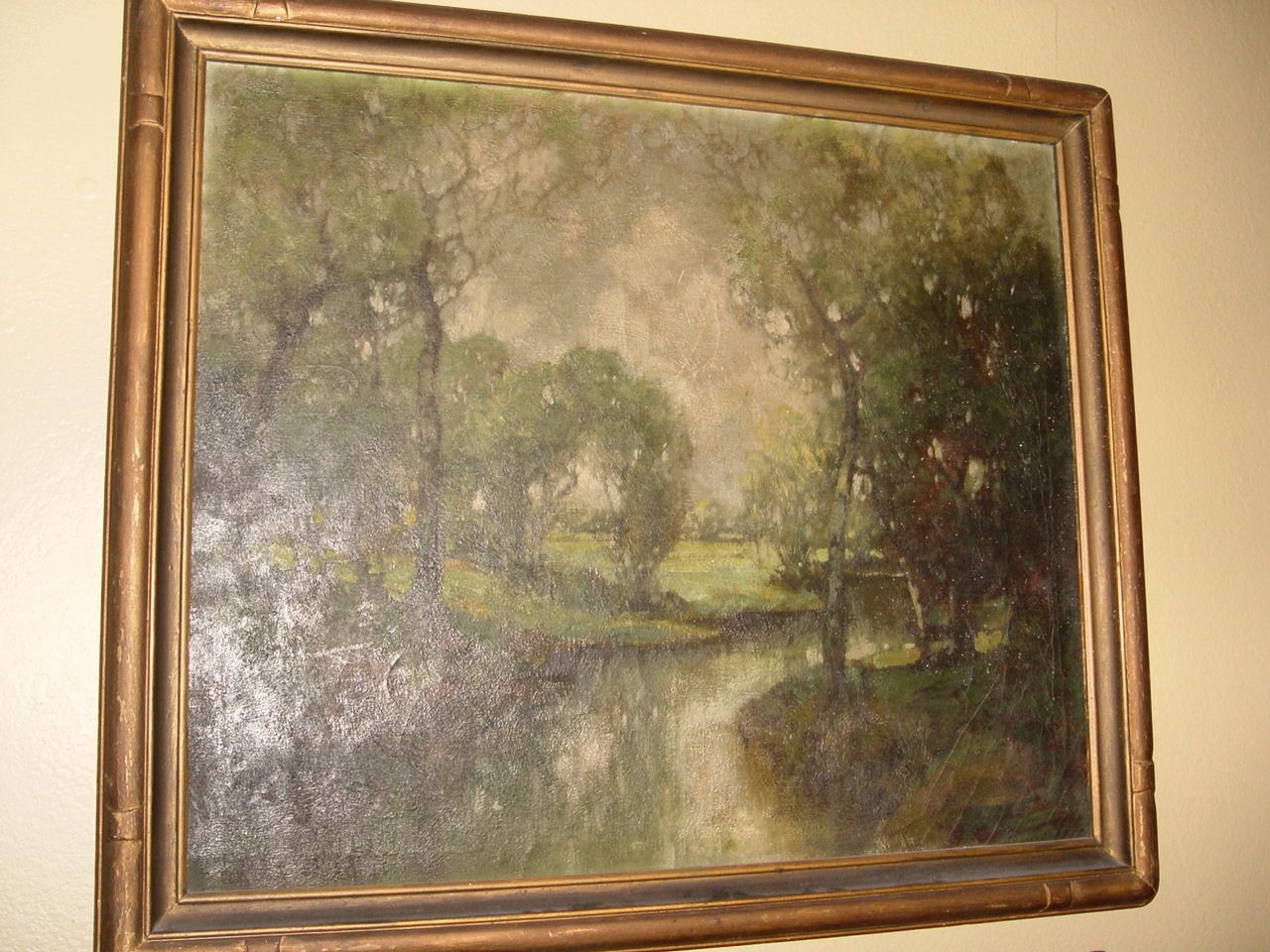 19th c. Beautiful Oil                                         Painting Landscaping in original                                         frame ~ Arts & Craft,                                         Mission Decor