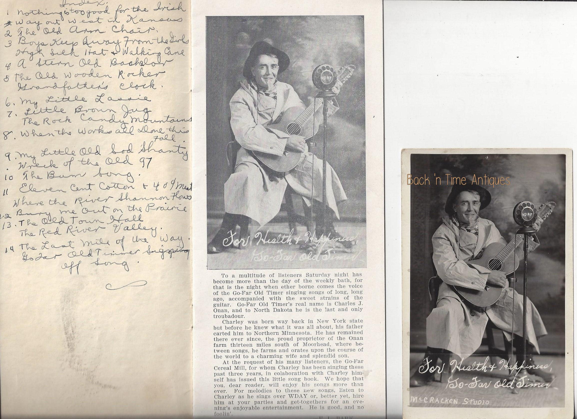 Rare Fargo ND                                         WDAY Radio Station Program                                         Go-Far Old Timer Song booklet ~                                         McCracken Studio