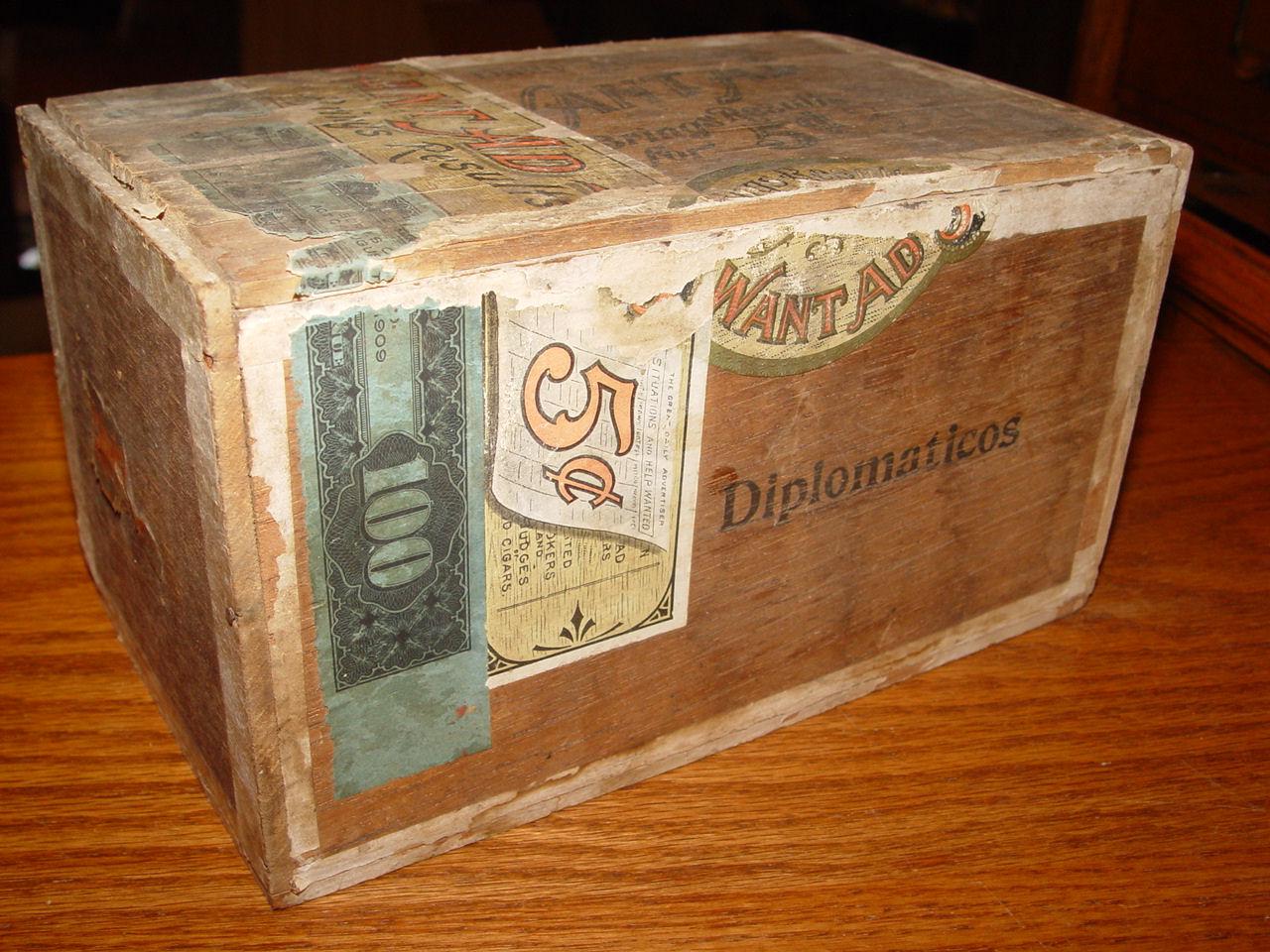 Rare 'Want Ad'                                         Cigars Box, c. 1800's Wooden                                         Cigar Box with Labels ~ Antique                                         Tobacciana