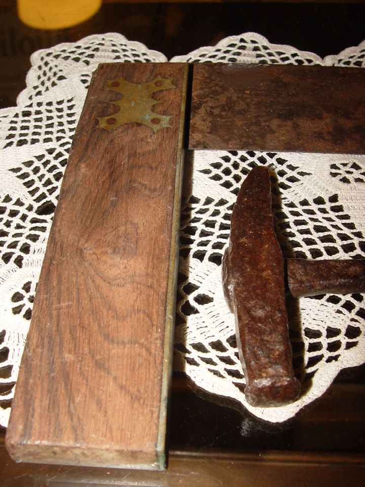Original 19th                                         c. Tools ~ Hand hammered                                         'hammer' and brass inlaid                                         antique square