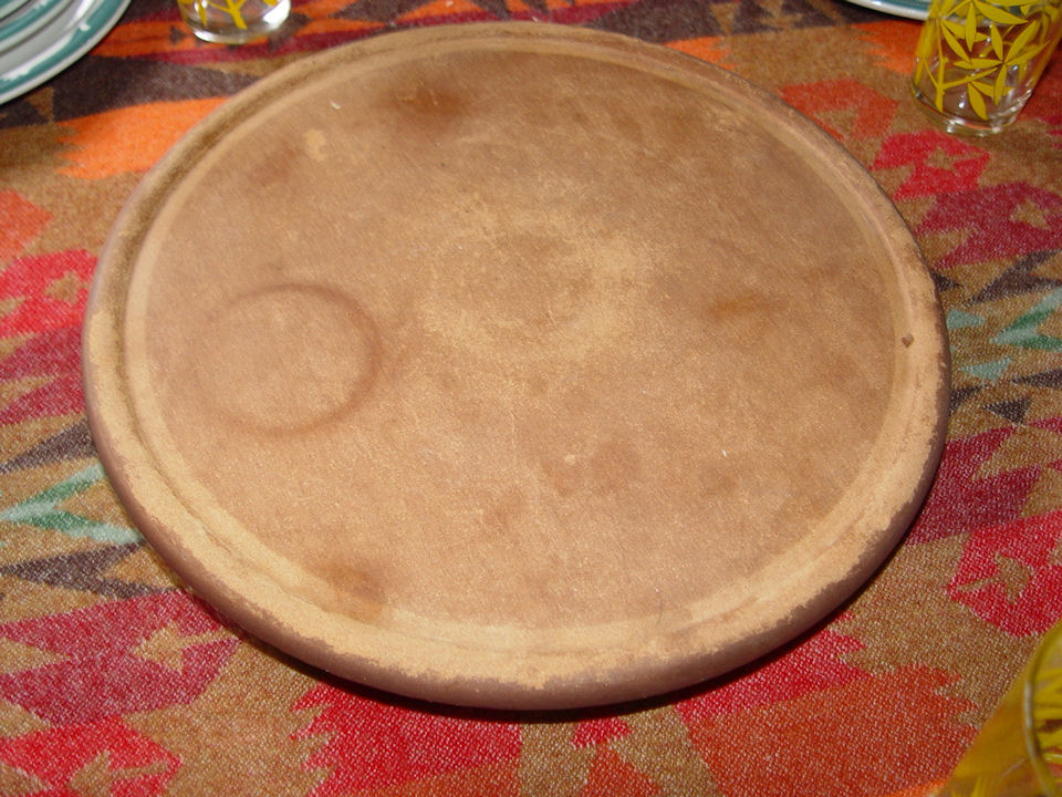 Vintage California Pottery                                         Festive Lazy Susan w/ wooden                                         turn table ~ Vegetable, Chips,                                         or more serving tray